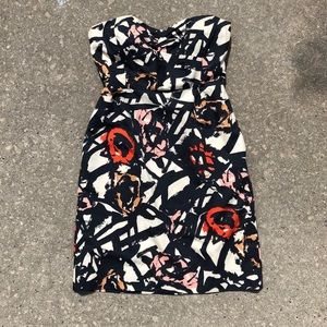 JCrew fitted strapless graphic dress